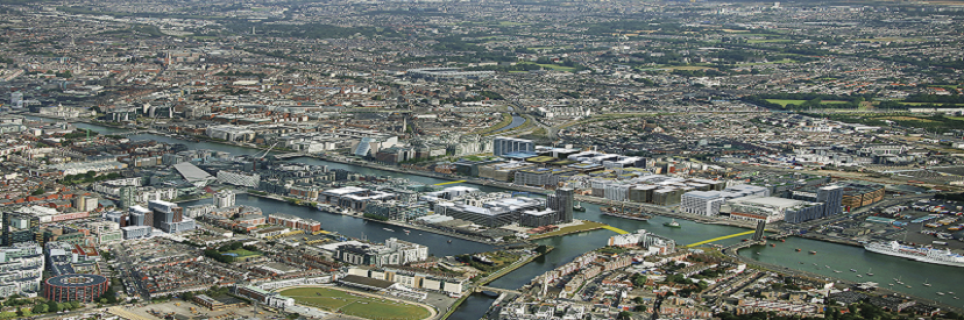 Overhead view of Dublin Docklands